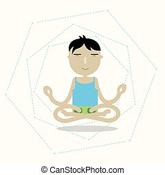 Vector man sitting cross-legged meditating - Illustration of...