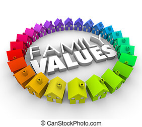 Family Values 3d Words Homes Houses Circle Ethics Morals -...
