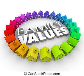 família, Valores, 3D, palavras, lares, casas,...