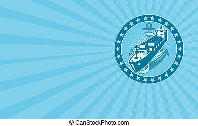 Business card Container Ship With Anchor Stars Retro