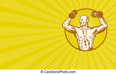 Business card male human anatomy body builder flexing muscle