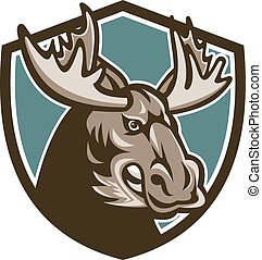 Angry Moose Mascot Shield - Illustration of an angry moose...