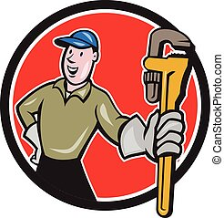 Plumber Presenting Monkey Wrench Circle Cartoon -...