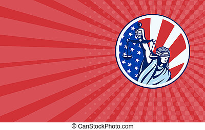 Business card American Lady Holding Scales of Justice Flag retro