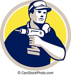 Handyman Holding Power Drill Circle Retro - Illustration of...