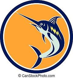 Blue Marlin Fish Jumping Circle Retro - Illustration of a...