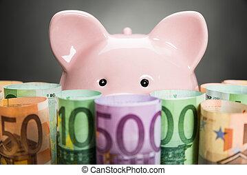 Piggybank With Euro Notes - Close-up Of A Piggybank On Euro...