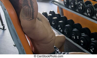 Young fit athlete is exercising in gym - Attractive...