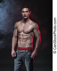 fitness male model - Portrait of a muscular male model...