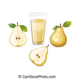 Pear fruit with glass of juice.