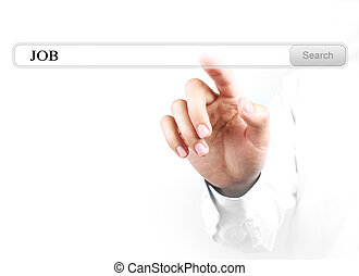 Touch job search bar - Businessman is touching the job...