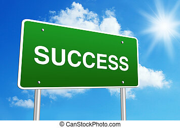 Success road sign with blue shiny sky background