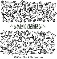 hand drawn garden icons - hand drawn doodle garden icons,...