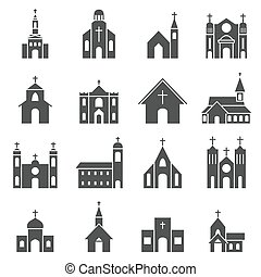 church building icon vector set