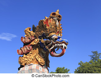 Dragon Statue, Bali - Brightly painted stone dragon statue...