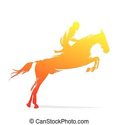 horse riding design by brush stroke vector