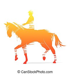 equestrian player design by brush stroke vector