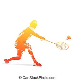 badminton player design by brush stroke vector