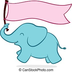 Cute little elephant with a banner - Cute little turquoise...
