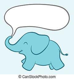 Baby blue elephant with a speech bubble - Cartoon...