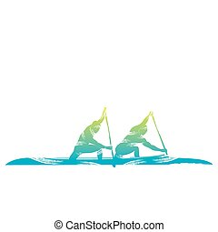 water sport design - kayaking sport design by brush stroke...
