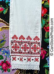 Belorussian embroidered towel with traditional ornaments on...