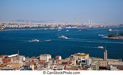 The crossroad of Bosphorus strait and Golden Horn in...