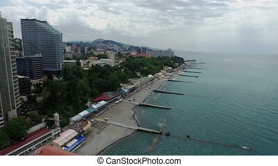 sochi from black sea - aerial view of sochi from black sea