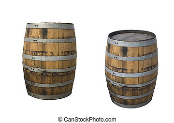 water barrels on white background - two water barrels on...