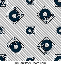 Gramophone, vinyl icon sign. Seamless pattern with geometric texture. Vector