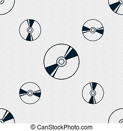 Cd, DVD, compact disk, blue ray icon sign. Seamless pattern with geometric texture. Vector