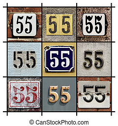 Number 55 - Collage of House Numbers Fifty-five