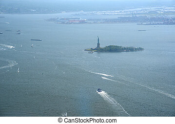 statue of liberty - aerial view of statue of liberty island...