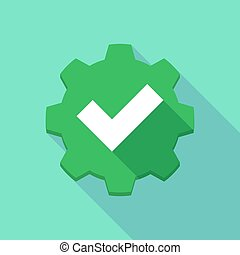 Long shadow gear icon with a check mark - Illustration of a...