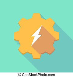 Long shadow gear icon with a  lightning