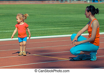 madre, y, poco, hija, Funcionamiento, alrededor, el,...