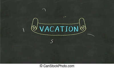Handwriting concept of 'Vacation' at chalkboard.