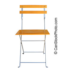 Wooden folding chair isolated over white clipping path.