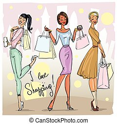 Pretty fashionable women - Pretty women with shopping bags...