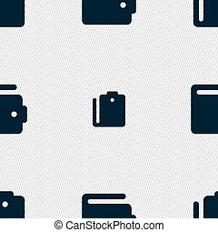 purse icon sign Seamless pattern with geometric texture...