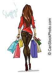 Pretty fashionable woman with shopping bags