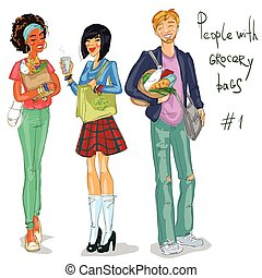 Young people with grocery bags - People with grocery,...