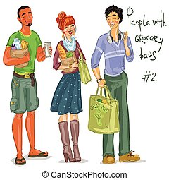 Young people with grocery bags