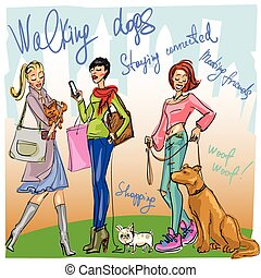 Pretty fashionable women with dogs - Pretty women walking...