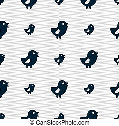 chicken, Bird icon sign. Seamless pattern with geometric...
