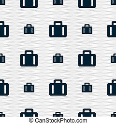 suitcase icon sign. Seamless pattern with geometric texture. Vector
