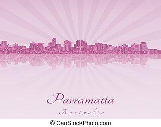 Parramatta skyline in purple radiant orchid in editable...