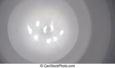 abstract rotating view of exhibition hall with light