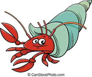 sea hermit crab cartoon illustration - Cartoon Illustration...