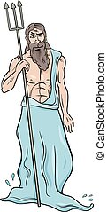 greek god poseidon cartoon illustration - Cartoon...